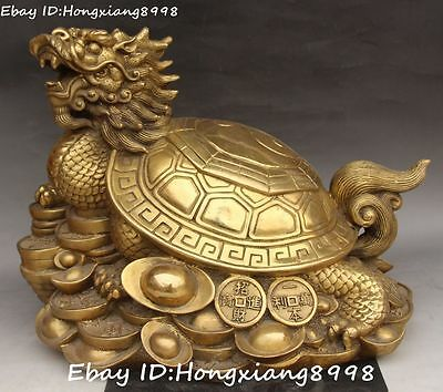 """14"""" Chinese Pure Bronze Wealth Money Coin Yuanbao Dragon Turtle Tortoise Statue"""