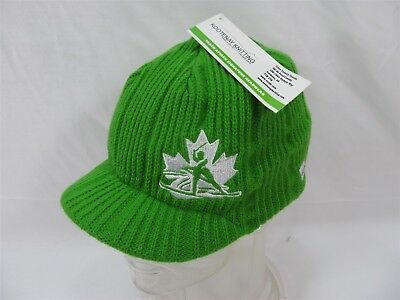 Cross Country Skiing Canadabrimmed Knitted Green Toque Beanie