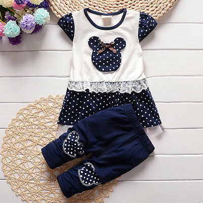 2PC Baby Girls Kids Girl Clothes Party Sports Suits T-shirt + Pants Outfits Sets