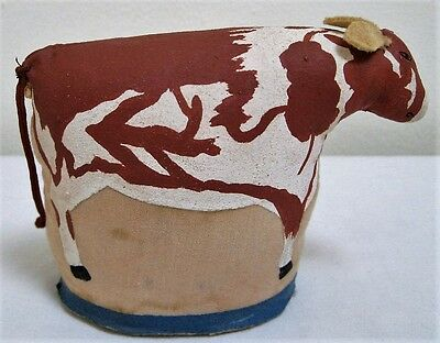 """Vintage Linen Fabric Painted Folk Art 3-D Standing Country Cow 3-1/2"""" Figure"""