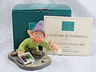 """WDCC """"We Pick Up Everything in Sight"""" Dopey from Snow White in Box COA SIGNED"""