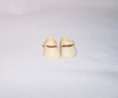 1950's Vogue Ginny White Vinyl Mary Jane Shoes Marked