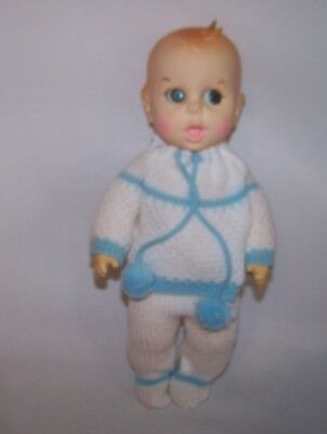 """Gerber Baby Doll 11""""  Side to Side Moving Eyes White & Blue Knit Outfit"""