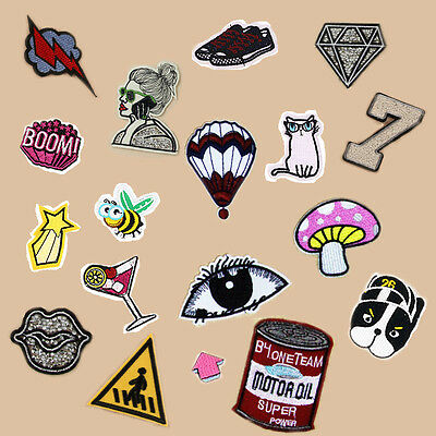 Sequin Embroidered Sew Iron on Patch Badge Applique Fabric Cartoon Multi Pattern