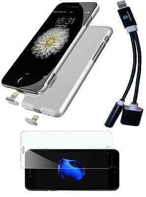iPhone 7/7+ Charger Case + Headphone aux adapter + Free Screen Protector Bundle
