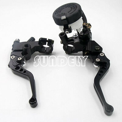 Motorcycle Universal Black Clutch Brake Levers Master Cylinder Reservoir 7/8""