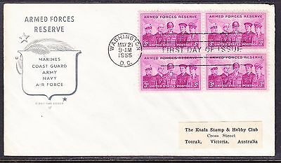 USA 1955 Armed Forces Reserve Blk 4  Souvenir Cover - Addressed to Australia