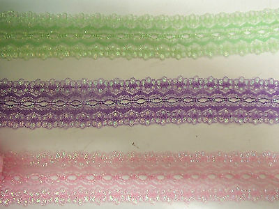 15 metre pack eyelet/coathanger lace in assorted opal colours #03