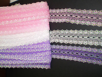 15 metres Bulk pack eyelet/coathanger lace assorted opal colours #02