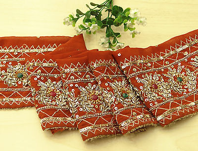 Vintage Indian Sari Border Embroidered Trim Sewing Orange Used Ribbon Lace 1YD