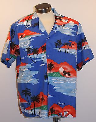 X Large Mens Short Sleeve Vintage Hawian Shirt. Casual Wear Made In Hawaii Usa.