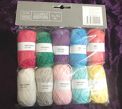 Pack of 10 X 10g balls of 100% cotton 10 assorted colours