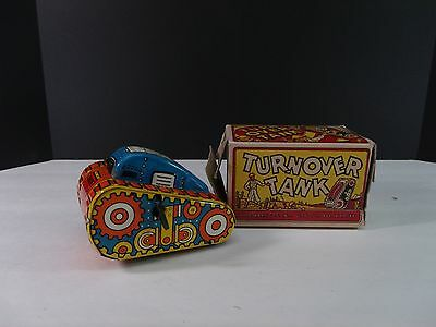 Vtg./antique. 1940s Marx Turn-Over Tank #5 In Box Tin Litho Wind Up Toy Works!