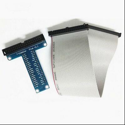 T-shape GPIO Breakout board for Raspberry Pi 3/2 with 40 pins ribbon cable