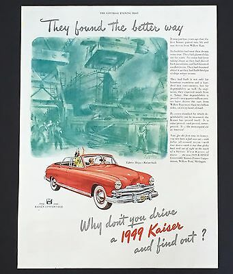 1949 Kaiser Convertible Original Advertisement Color Car AD Liberty War Ship