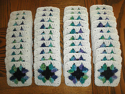 40 Hand Crocheted 4x4 Granny Squares in Red Heart Wildflower, Navy & White