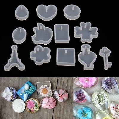 Cute 12PCS DIY Silicone Pendant Mold Making Jewelry Resin Casting Mould Craft
