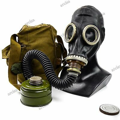 Vintage Soviet russian army Gas mask GP-5 black hose. USSR field protective mask