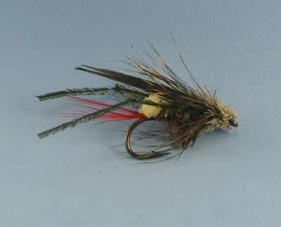 Grasshopper Flies Size 6, Trout Freshwater Fly fishing, 5pcs, Free Postage