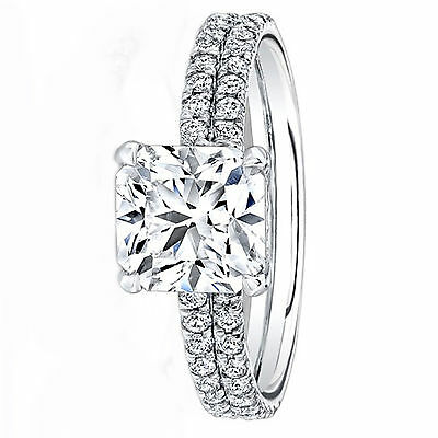 Cushion Cut 14K White Gold 0.87 Ct Diamond Solitaire Engagement Ring