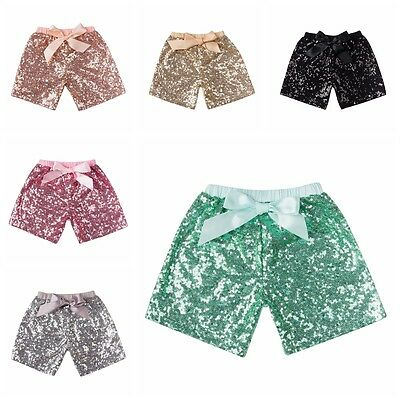Fashion Summer Kids Baby Girls Sequins Bowknot Party Shinny Sparkle Mini Shorts