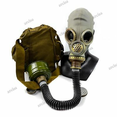 Soviet USSR army military Gas mask GP-5M PMG-2 with black breathing hose