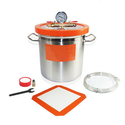 New Vacuum Chamber 12L strong Stainless steel barrel Pump w/1.5M Air Hose int