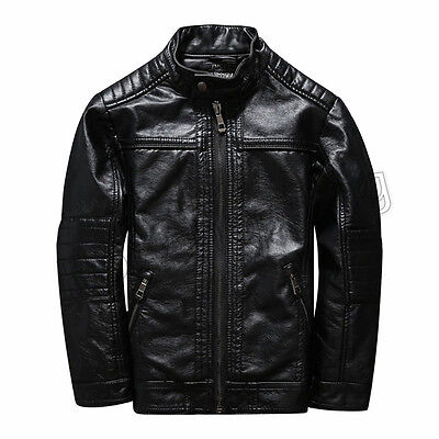 New Children Coats Black Jackets Boys PU Leather Casual Stand Collar Jacket