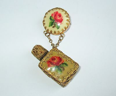 ANTIQUE AUSTRIAN MINIATURE GLASS PERFUME SCENT BOTTLE & BROOCH w FINE EMBROIDERY