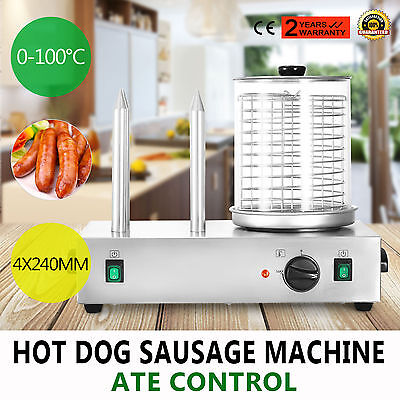 Roll Grill Hot Dog Steamer Sausage Machine Muffin French commercial 2X300W