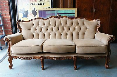 Edwardian 3 Seater Sofa Settee Pale Brown Ornate Reupholstered COURIER No. GIVEN