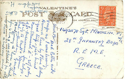 Postcard (Guernsey) sent to Sgt.Macklin-28th Infantry Brigade,REME,Greece 1947