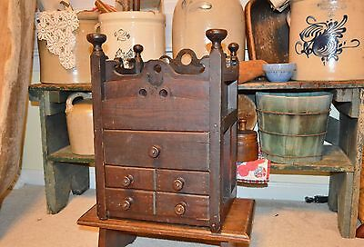 Hand Crafted Antique Primitive 6 Drawer  Wood Counter Top Spice Cabinet 1800's