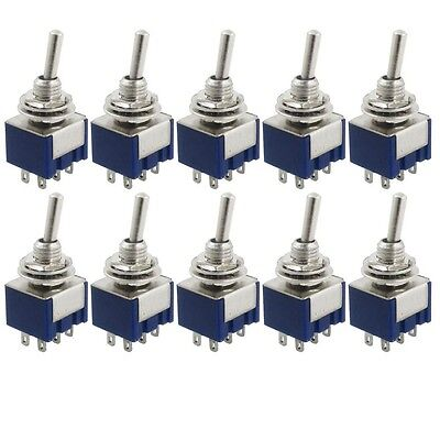 Top New 10 Pcs AC 125V 6A Amps ON/ON 2 Position DPDT Toggle Switch