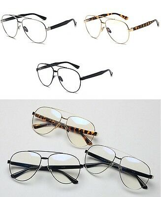 black and gold aviators e7ly  CLASSIC VINTAGE RETRO AVIATOR Clear Lens EYE GLASSES Gold Metal Fashion  Frame A+