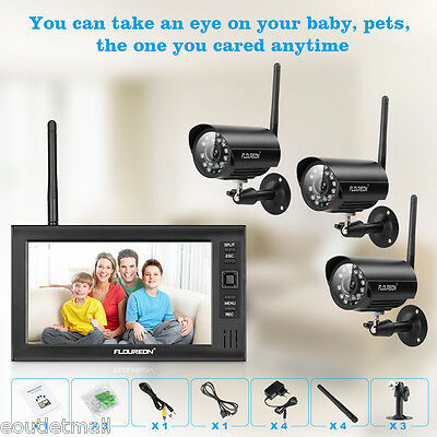 "3 Wireless CCTV Cameras Kit 4CH 7"" LCD Monitor Home Security Video DVR System UK"