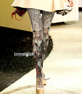 Fantasy Banshee Celtic Graphic Tights Pantyhose Cosplay One Size