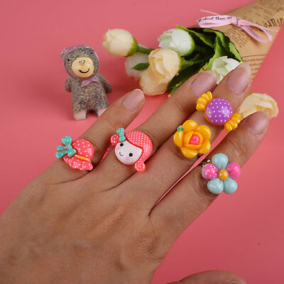 50 Pcs Bulk Mixed Plastic Cartoon Animal Flowers Fruit Finger Rings For Children