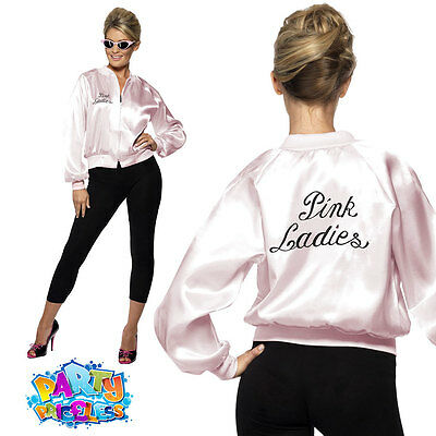 Adult Pink Ladies Jacket Womens Official Grease Fancy Dress Costume 1950s 50s