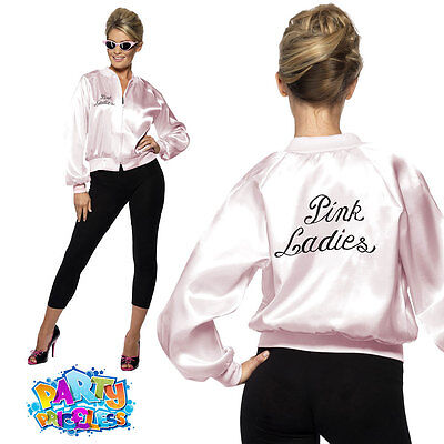 Pink Ladies Jacket Adult 50s Womens Official Grease Fancy Dress Costume Outfit