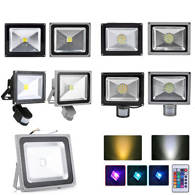 LED 10/20/30/50/100W PIR Motion Floodlight Security Light Cool Warm RGB UK Stock