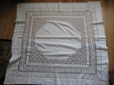 "Antique  White Linen Drawn Thread Work & Crochet Tablecloth 42"" x 42"""