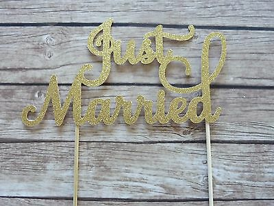 Just Married Cake Topper - Gold Glitter Wedding Cake Decorations, Mr & Mrs Cake