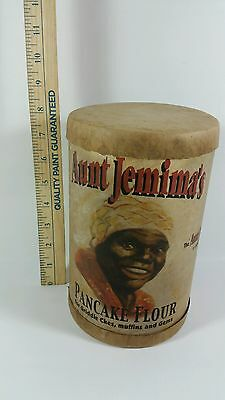 """Antique Early Aunt Jemima Pancake Flour Paper Canister Tube Black Americana 8.5"""""""
