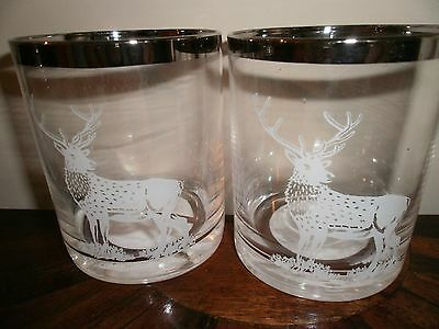 Highland Stag/ Pair Whisky Tumblers  With Metallic Silver Rim Bnwt