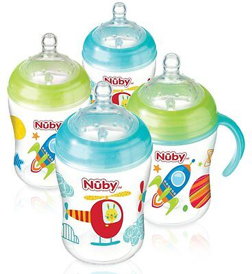 Nuby Natural Touch Decorated Bottles 270 ml Green Blue Pack of 4