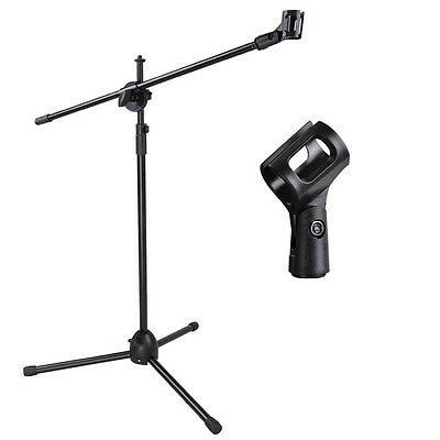 Black Microphone Stand Adjustable Boom Arm Bulk Package Studio Tripod Mic Clip