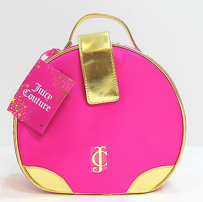 Juicy Couture Bright Pink & Gold Vanity Case / Cosmetics / Make-Up Bag * New