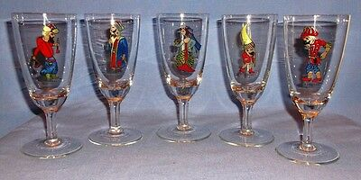 VINTAGE Cordial Glasses - Karagoz Turkish Shadow Theater Characters - Set of 5
