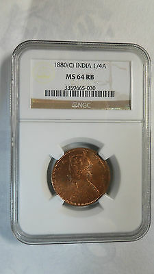 India British Queen Victoria 1/4 Anna, 1880 C, NGC MS 64 RB